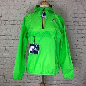 K-Way Neon Green Rain Jacket Pullover Hoodie M NWT